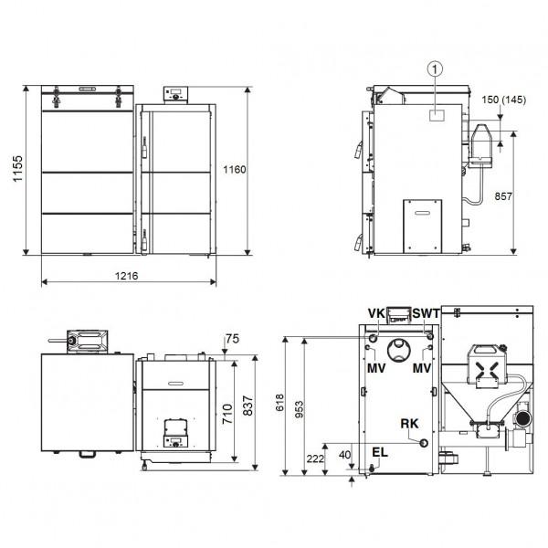 Buderus Logano S181-20 E, Стальной автоматический твёрдотопливный котёл Будерус