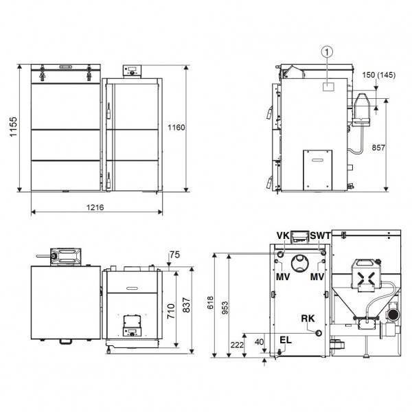 Buderus Logano S181-25 E, Стальной автоматический твёрдотопливный котёл Будерус