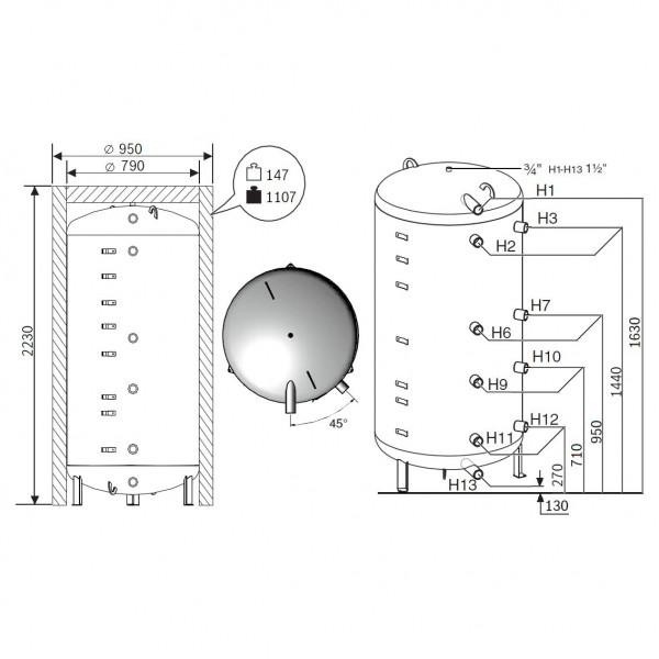 Buderus Logalux P1000.6 MW-C, Бак-аккумулятор Будерус