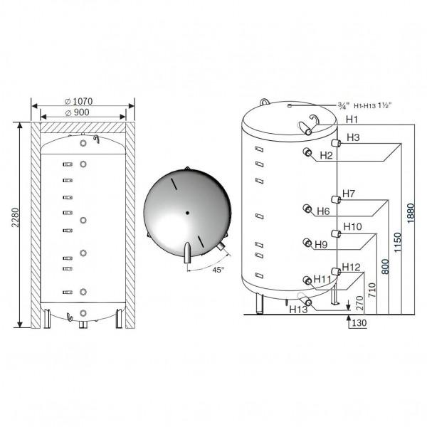 Buderus Logalux P1300.6 MW-C, Бак-аккумулятор Будерус