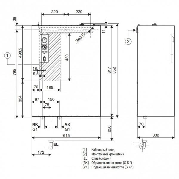 Buderus Logamax E213 45kW, Настенный электрический котёл Будерус без расширительного бака