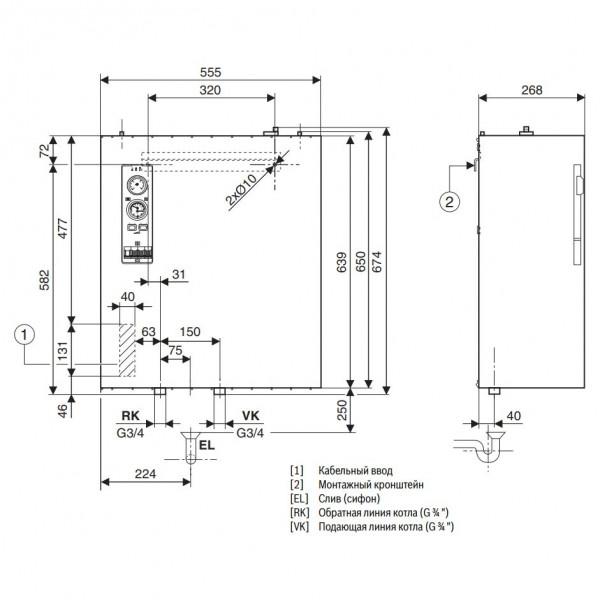 Buderus Logamax E213 10kW, Настенный электрический котёл Будерус со встроенным расширительным баком