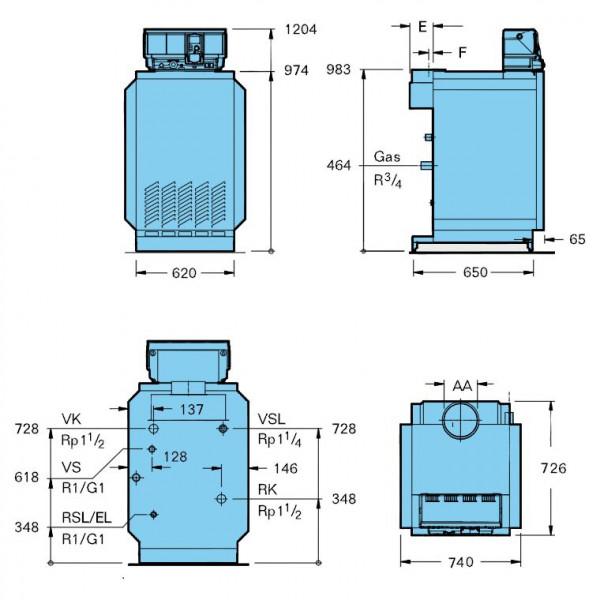 Buderus Logano G234-50 WS, G20, Атмосферный чугунный газовый котёл Будерус