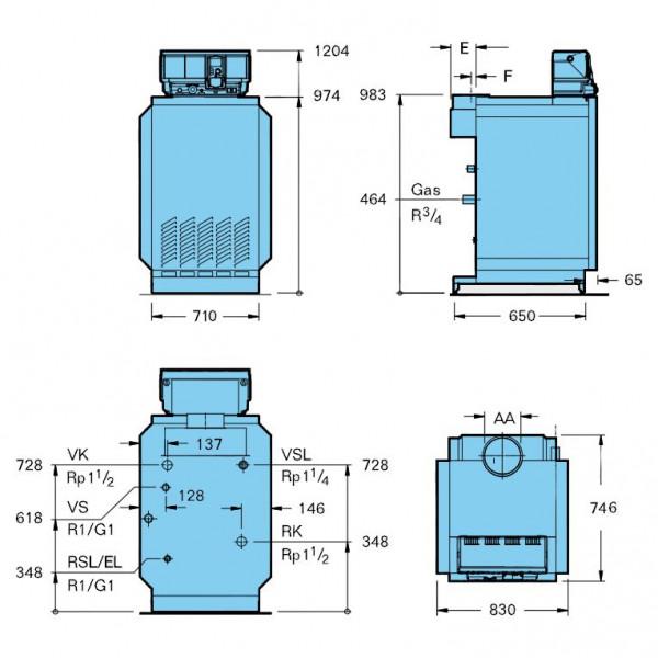 Buderus Logano G234-60, G20 (AW.50.2-Kombi), Атмосферный чугунный газовый котёл Будерус