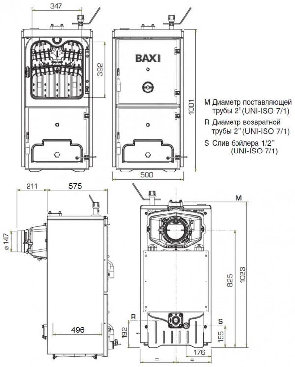 Baxi BPI-Eco 1.350, Напольный твёрдотопливный котёл Бакси