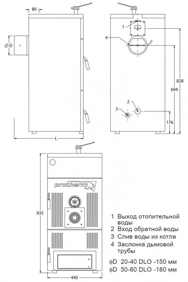 Protherm Бобер 50 DLO, Напольный твёрдотопливный котёл Протерм