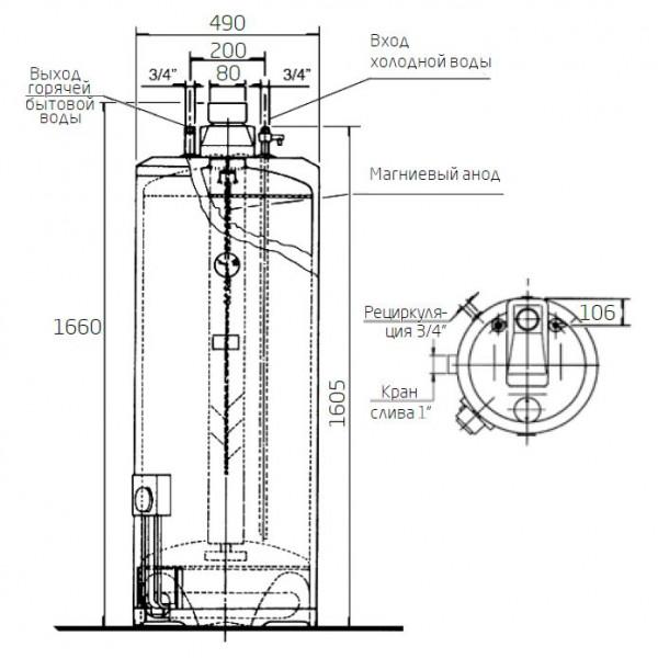 Baxi SAG-3 190 T, Газовый накопительный водонагреватель Бакси