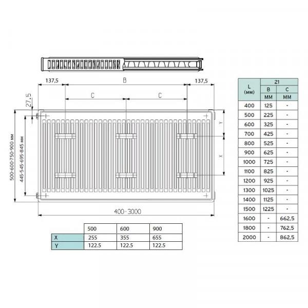 Vaillant K-21-600-1000, Стальной панельный радиатор Вайлант