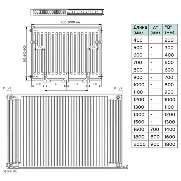 Vaillant V-21-500-600, Стальной панельный радиатор Вайлант
