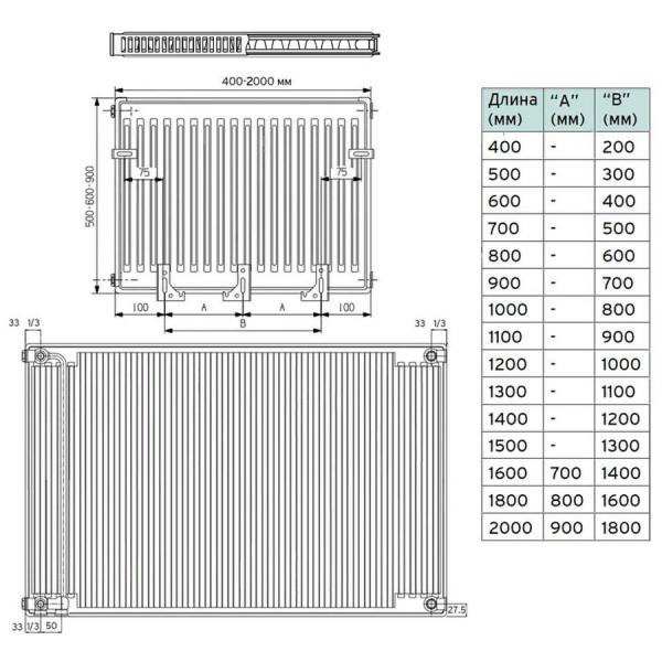 Vaillant V-21-500-900, Стальной панельный радиатор Вайлант