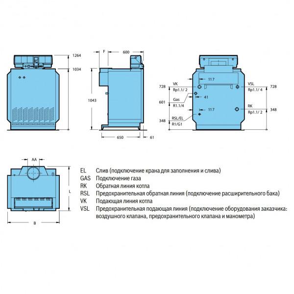 Buderus Logano G334-73 WS с AW.50.2-Kombi (отд. секциями), Напольный газовый чугунный котёл Будерус