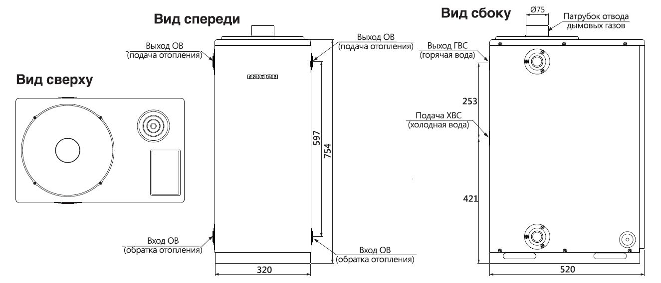 Габариты котла Navien LFA-13K