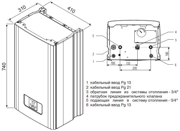 Габариты электрического котла Protherm Скат 18 КR 13