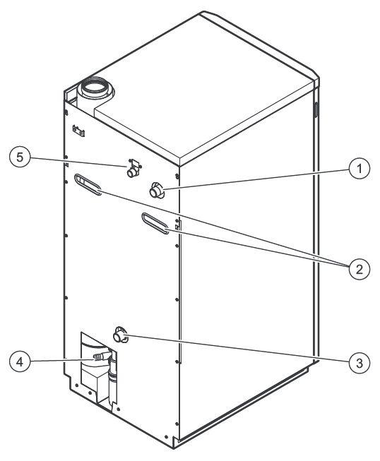 Элементы подключения на задней стороне котла Vaillant ecoVIT/5 VKK INT 186/5