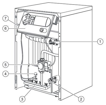 Функциональные элементы котла Vaillant atmoVIT VK INT 484/1-5 (вид спереди)