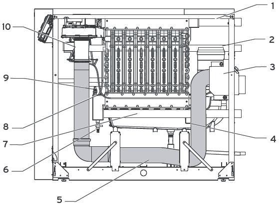 Функциональные элементы котла Vaillant ecoCRAFT exclusiv VKK 806/3-E R1 (вид справа)