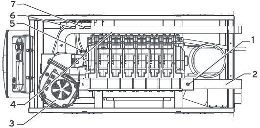 Функциональные элементы котла Vaillant ecoCRAFT exclusiv VKK 806/3-E R1 (вид сверху)