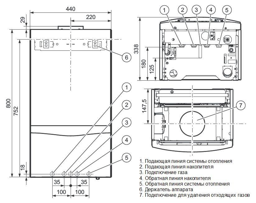 Габариты котла Vaillant atmoTEC plus VUW 200/5-5