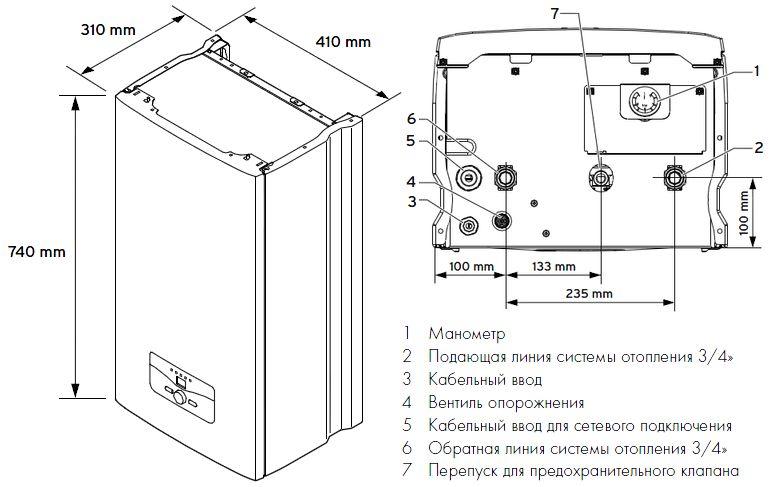 Габариты электрического котла Vaillant eloBLOCK VE 14