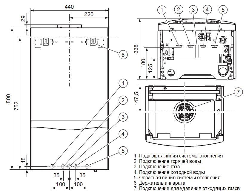 Габариты котла Vaillant turboTEC plus VU 202/5-5