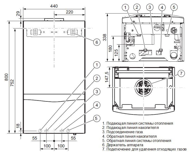 Габариты котла Vaillant turboTEC plus VU 122/5-5