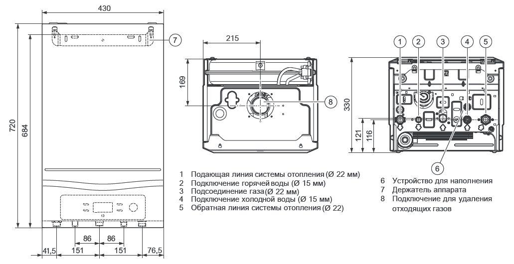 Габариты котла Vaillant turboFIT VUW 242/5-2