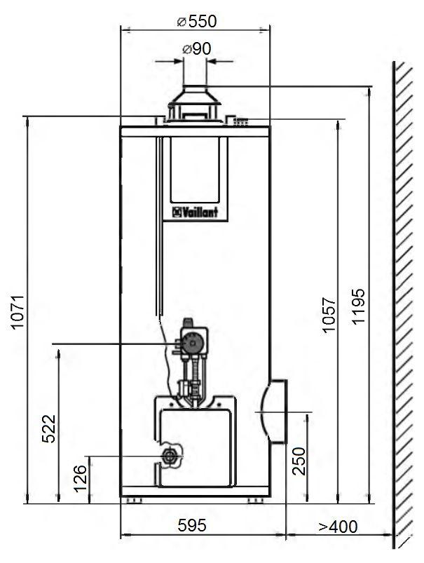 Габариты водонагревателя Vaillant atmoSTOR VGH 130/5 XZU