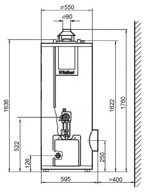 Габариты водонагревателя Vaillant atmoSTOR VGH 220/5 XZU