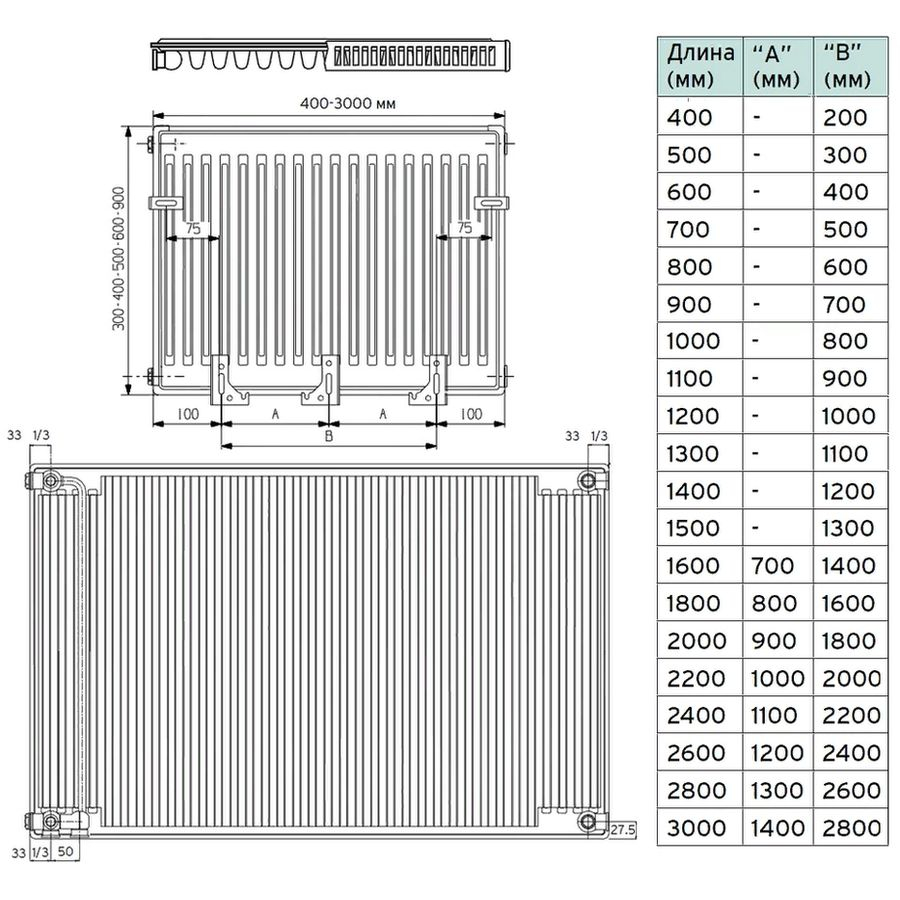 Габариты стального панельного радиатора Vaillant V-11-500-1000