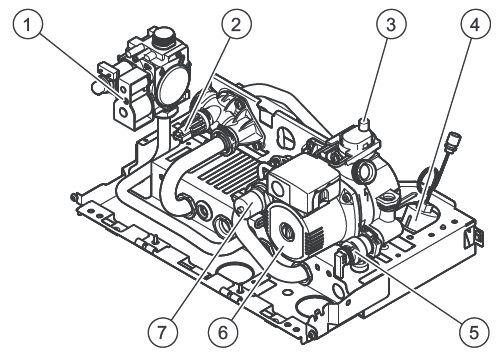 Конструкция гидравлического блока котла Vaillant atmoTEC plus VUW 200/5-5