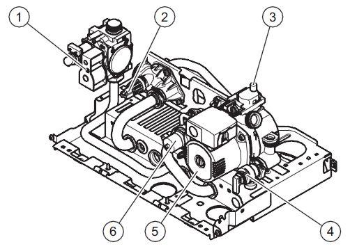 Конструкция гидравлического блока котла Vaillant turboTEC plus VU 242/5-5