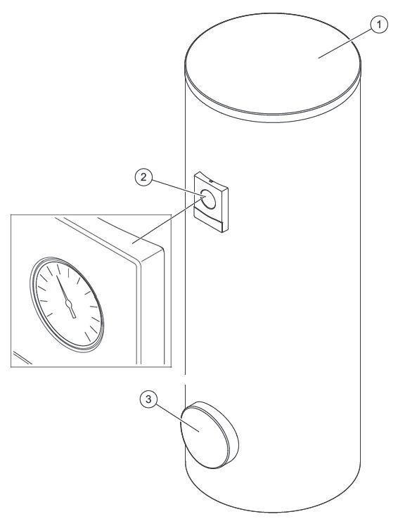 Основные элементы водонагревателя Vaillant uniSTOR VIH R 300/3 BR