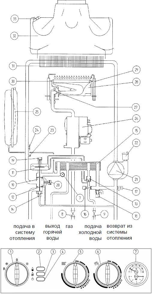 Функциональная схема котла Baxi ECO-3 240 i