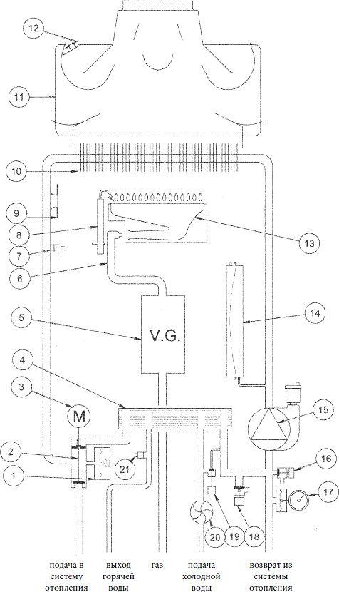 Функциональная схема котла Baxi ECO Four 24