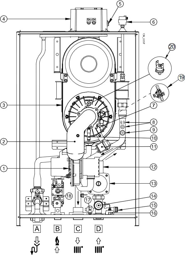 Функциональная схема котла Baxi LUNA Duo-tec MP 1.99