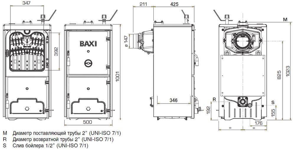 Габариты котла Baxi BPI-Eco 1.250