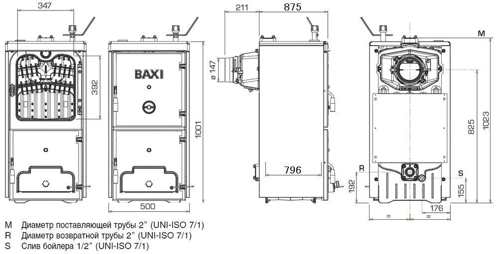 Габариты котла Baxi BPI-Eco 1.550