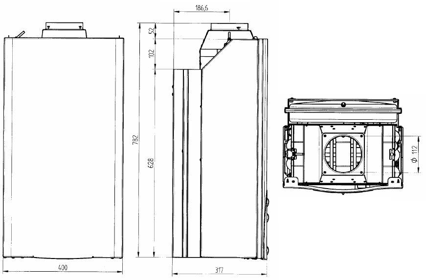 Габариты газового котла Baxi ECO-3 Compact 1.140i