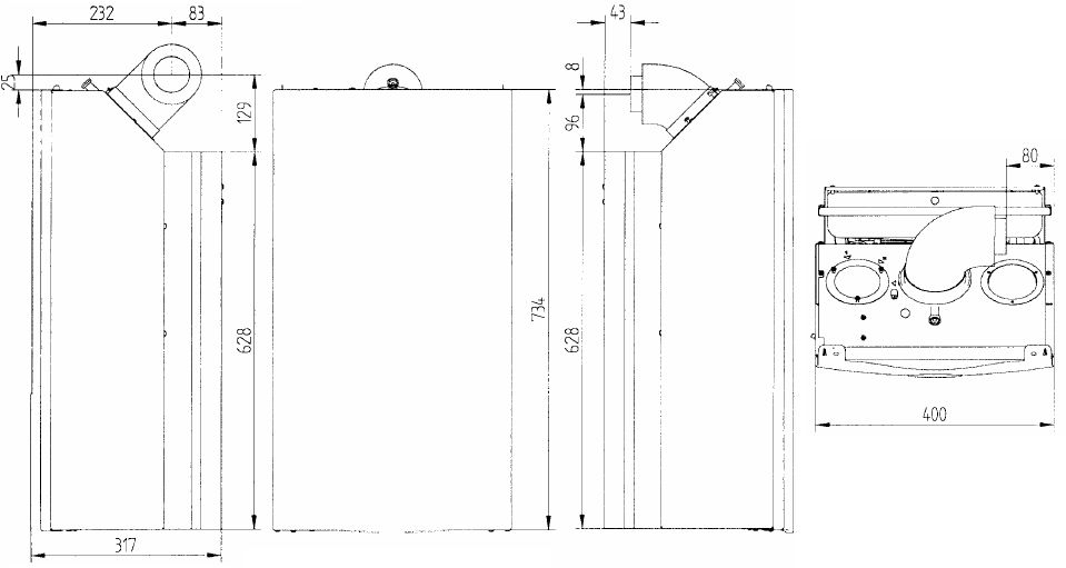 Габариты газового котла Baxi ECO-3 Compact 240Fi