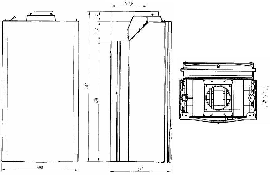 Габариты газового котла Baxi ECO-3 Compact 1.240i