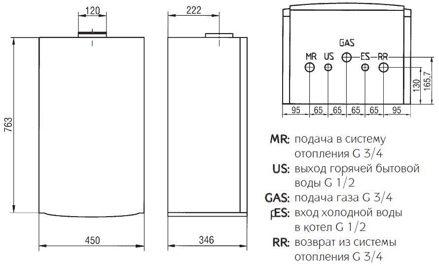 Габариты газового котла Baxi ECO-3 240 i