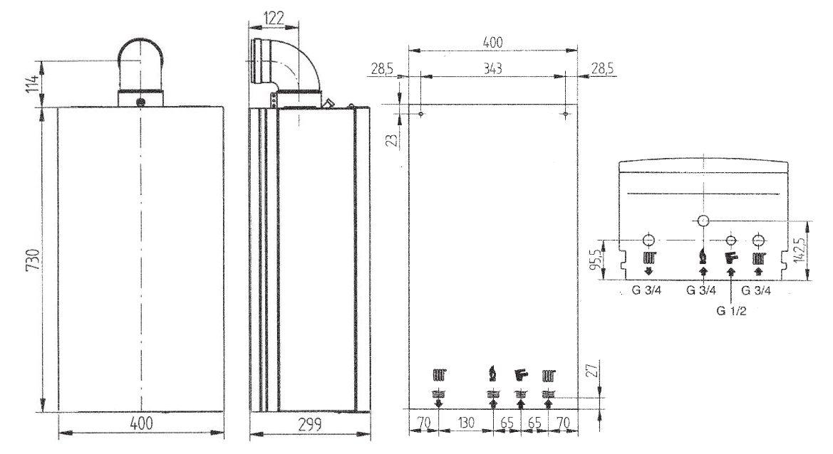 Габариты газового котла Baxi ECO-4s 1.24 F