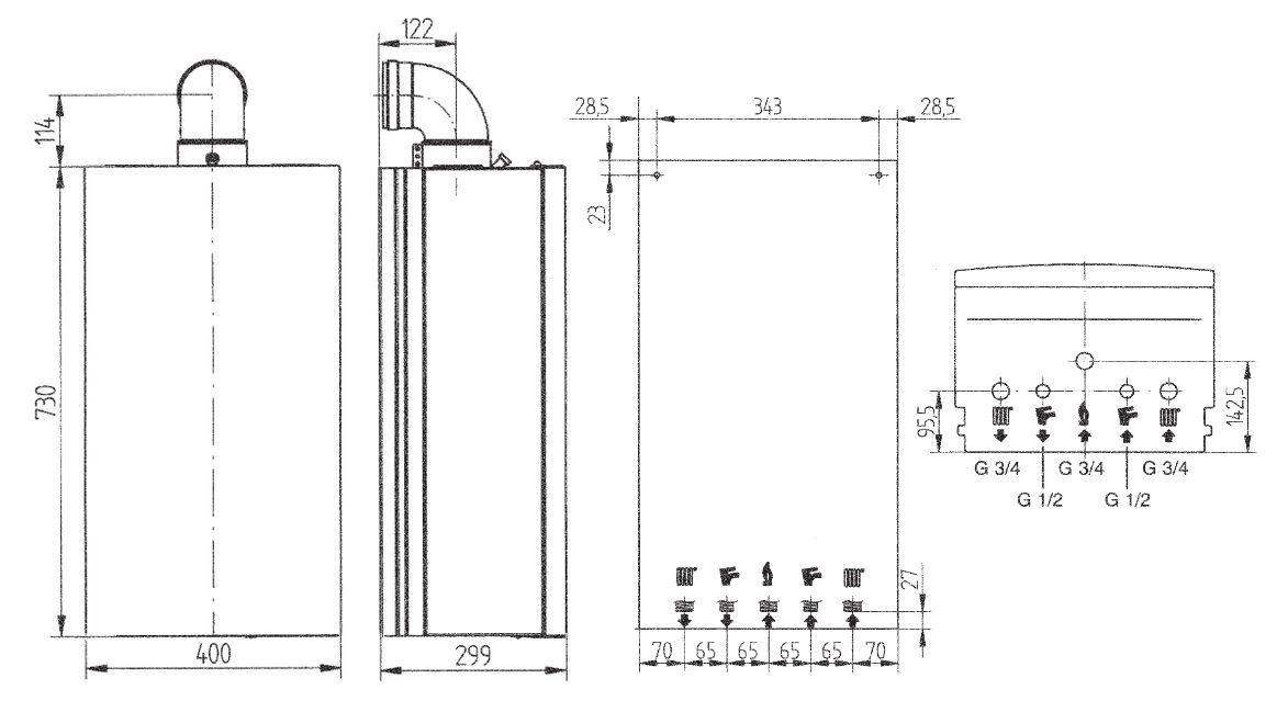 Габариты газового котла Baxi ECO-4s 10 F