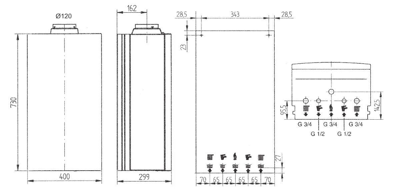 Габариты газового котла Baxi ECO-4s 24