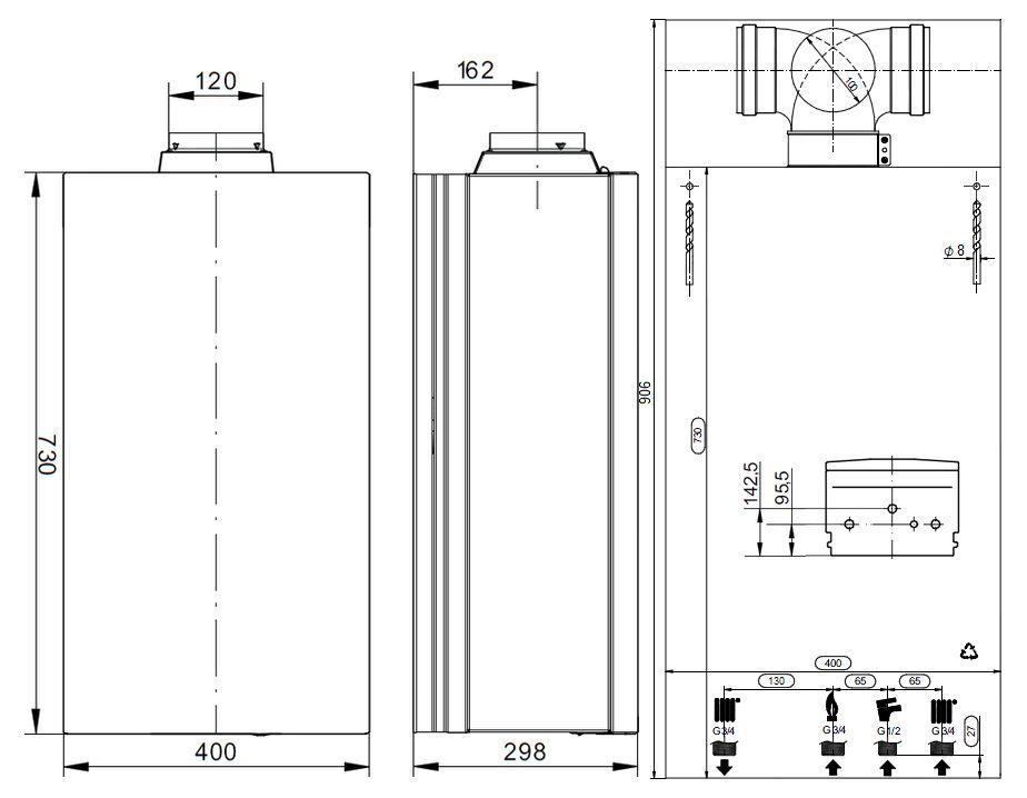 Габариты газового котла Baxi ECO-5 Compact 1.24