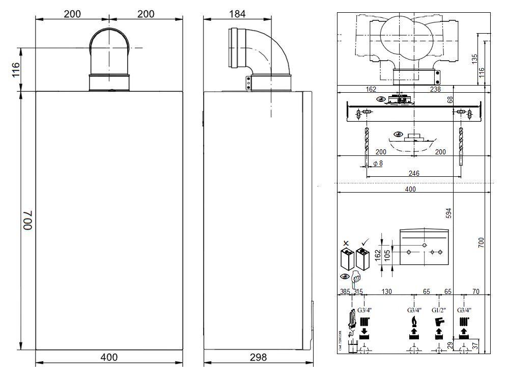 Габариты газового котла Baxi ECO-5 Compact 1.14F