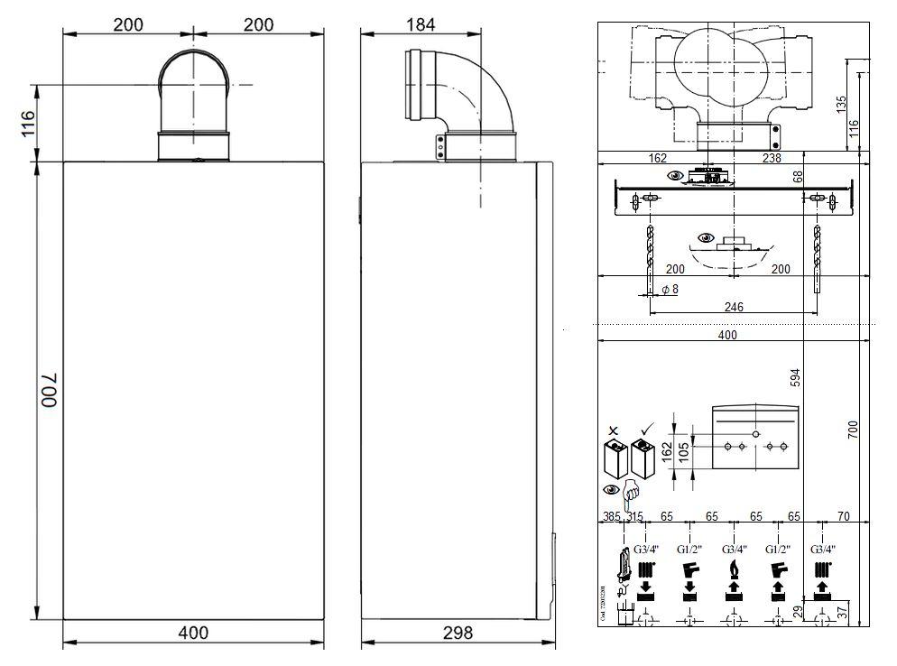 Габариты газового котла Baxi ECO-5 Compact 14F