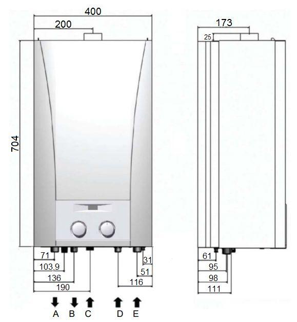 Габариты газового котла Baxi ECO Home 24 F
