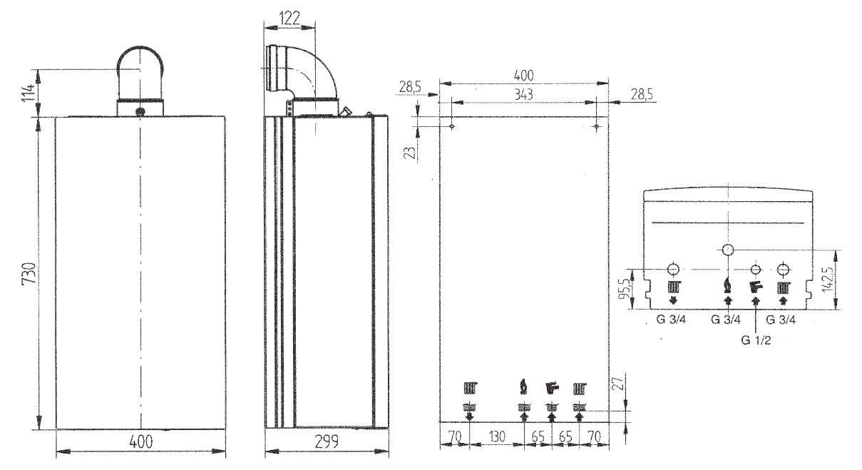 Габариты газового котла Baxi ECO Four 1.14F