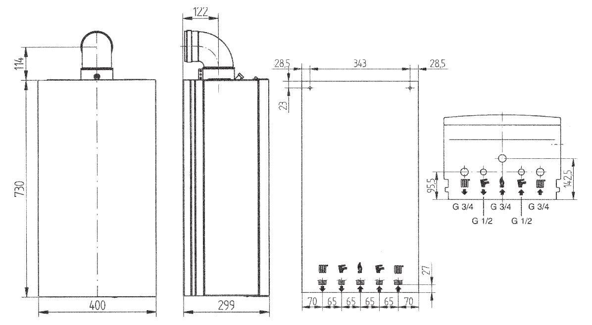 Габариты газового котла Baxi ECO Four 24F